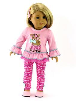 """Pink Reindeer Snowflake Pant Set  Fits 18"""" American Girl Dol"""