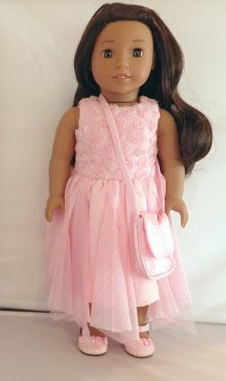 Arianna Pink Roses Party Dress 3pcSet Fits 18 inch American