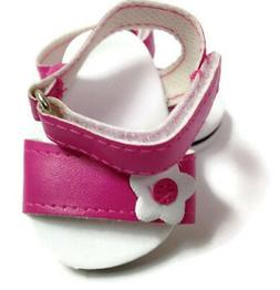 "Pink Sandal Shoes with Floral Accent made for 18"" American G"
