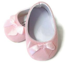 """Pink Suede Bow Shoes made for 18"""" American Girl Doll Clothes"""
