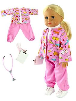 """Pink Vet Outfit with Stethoscope and Clipboard 