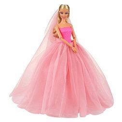 Barwa Pink Wedding Dress with Veil Evening Party Princess Pi