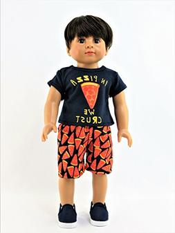 """""""In Pizza We Crust"""" Outfit -Fits 18"""" American Girl Dolls"""