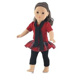 """18 Inch Doll Plaid Skirt & Leggings Outfit 