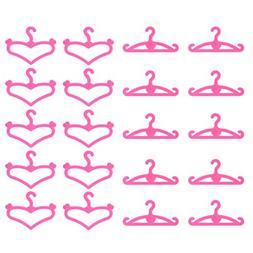 60 PCS Plastic Little Hangers for Doll Dress Clothes Gown Do