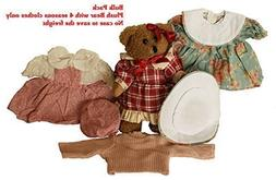 Plush Brown Bear 9 Inches and Plaid Dress with Calico Trimmi
