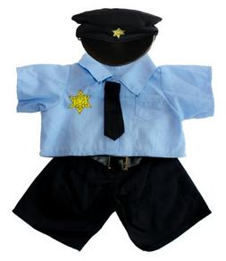 "Policeman Uniform Outfit Teddy Bear Clothes Fits Most 14"" -"