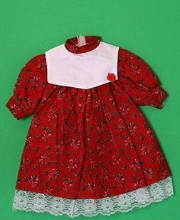 Porcelain Doll Cottonl Red Dress Collar W. 6 cm, Shoulder W.