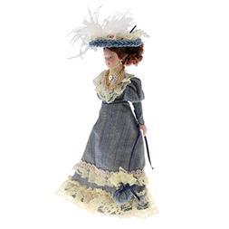 Baoblaze Porcelain Doll Elegant Lady in Dark Green Dress for
