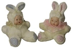 Porcelain Sitting Doll Baby  Twin in Cute Bunny Rabbit Cloth