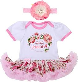 Smilsheep Princess Floral Hoop Onesie Dress Headband Clothes