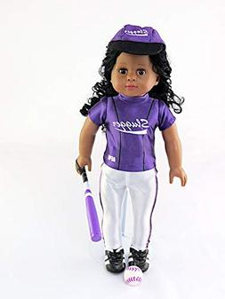 Purple Baseball Uniform with Baseball Bat, Helmet, and Shoes
