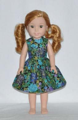 Purple Blue Floral Doll Dress Clothes Fits American Girl Wel