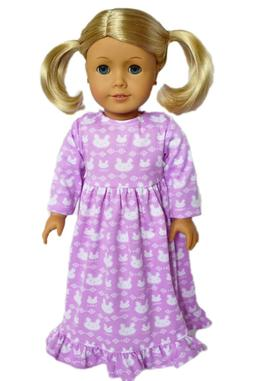 purple bunny nightgown pajamas outfit fits 18