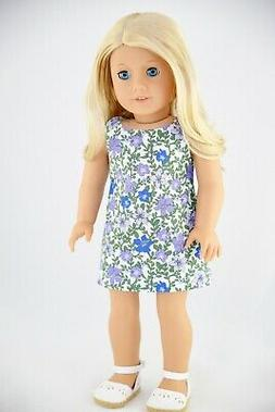 Purple Floral Easter Dress American Made Doll Clothes For 18