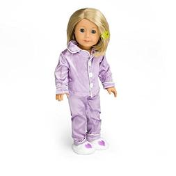 Purple Silk Pajama Doll Clothes for American Girl Dolls:- In