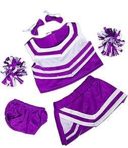 """Purple & White Cheerleader Uniform Fits Most 8""""-10"""" Webkinz,"""