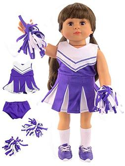Purple and White Doll Cheerleader Cheerleading Outfit Unifor
