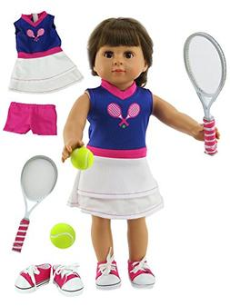 Purple & White Tennis Outfit Includes Shorts,Tennis Racket,S