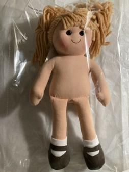 "Rag Doll 13.75"" Light Brown Yarn Hair  Cloth Doll  No Clothe"
