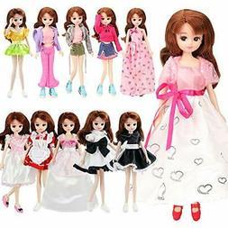 Barwa random Set of 5 1/6 dress handmade cute doll applied f