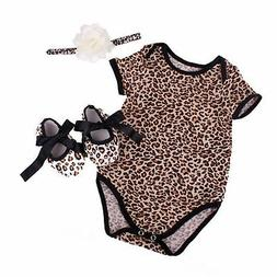 NPK collection Reborn Baby Doll Leopard Romper Clothes Set f