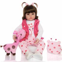 Reborn Baby Doll Toy Cloth Body Stuffed Realistic Baby Giraf