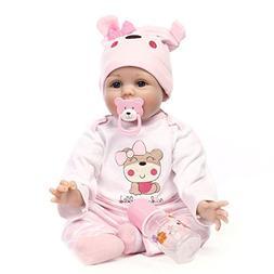 "NPK Reborn Baby Dolls 22"" Pink Love Clothes Soft Silicone Vi"