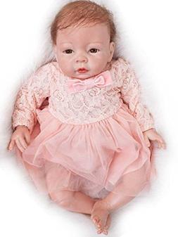 Reborn Baby Dolls Girls Silicone Newborn Eyes Open 22 inch P