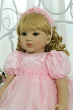 Reborn Silicone Baby Toddler Dolls Pink Dress Real Baby 24in