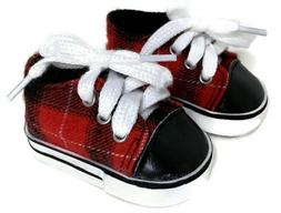 Red and Black Plaid Shoes Boy for 18 inch American Girl Doll