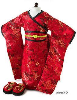 CARPATINA Red Brocade Japanese Kimono & Sandals ~ Doll Outfi