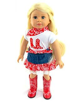 """Red Cowgirl Boot Skirt Set 