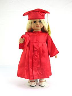"""Red Graduation Cap, Gown, and Diploma -Fits 18"""" American Gir"""