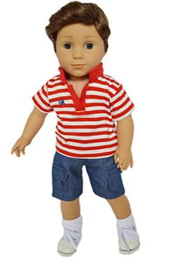 My Brittany's Red Polo Set for American Girl Boy Dolls- 18 I
