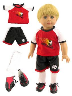 "Red Soccer Outfit Short Set Fits 18"" American Girl or Boy Do"