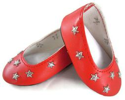 Red Star Ballet Flats Shoes fits 18 inch American Girl Doll