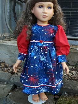 Red White Blue fireworks design dress fits 23 inch My Twinn