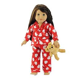 18 Inch Doll Clothes Red & White Heart Pajamas with Teddy Be