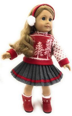 """Red Winter Sweater, Skirt, & Earmuffs for 18"""" American Girl"""