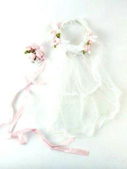"Rosebud Bridal Veil Headband & Bouquet 18"" Doll Clothes Fit"