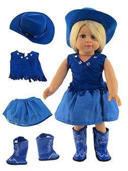 """Royal Blue Little Cowgirl with Hat and Boots- Fits 18"""" Ameri"""