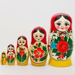 Russian Semenov Nesting dolls Matryoshka set 5 pcs. Hand pai