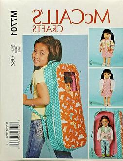 "McCall's M7701 Clothes & Carrier for 18"" American Girl Doll"