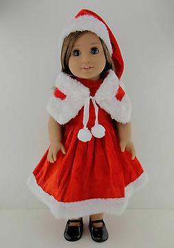 Santa Dress with Shawl and Matching Hat Designed for 18 Inch