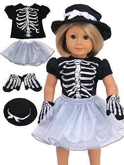 "Sassy Silver Skeleton Halloween Costume Fits 18"" American Gi"