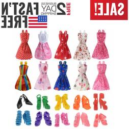 Set Barbie Doll Clothes Party Gown Outfits Shoes Accessories