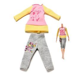 AOWA 2 Pcs/set Blouse Trousers Clothes for Barbie Dolls Colo