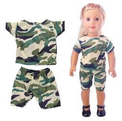 EatingBiting(R)2Pcs Set Doll Camouflage Military Suit Sh