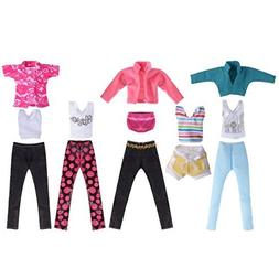 5 Set Doll Clothes Outfit 5 Tops 5 Trousers Pants for Girl's